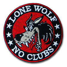 Lone Wolf  No Clubs Patch Harley Biker Motorcycle Cafe Racer Rider Rocker Vest