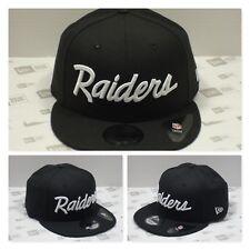 Oakland RAIDERS Custom Wordscript Snapback (Black On White)