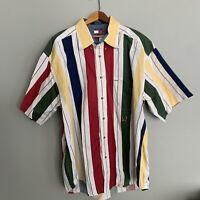 Tommy Hilfiger Color Block Men's 90's Vtg Striped Button Front S/S Shirt Sz L