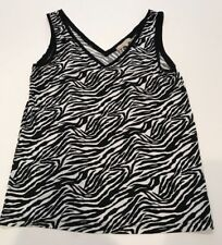 7583f868ced89 Banana Republic Tank Top Zebra Women s Sz S V Neck Sleeveless Black White