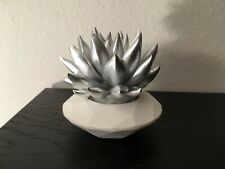 "Modern Minimalist Succulent Sculpture Silver & White, Geometric Planter, 3"" Tall"