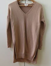 Stylish Long Cotton Tan Knit Jumper from SEED - size XS