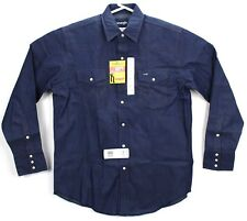 Wrangler Mens Cowboy Cut Work Western Long Sleeve Shirt Indigo Large Tall