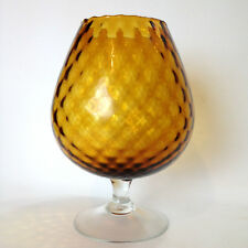 Large Retro Amber Coloured Art BUBBLE Glass Brandy Balloon Vintage
