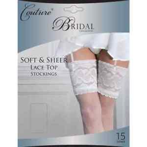 BRIDAL BRIDE WEDDING SOFT SHEER LACE TOP STOCKINGS IVORY / WHITE-MEDIUM & LARGE