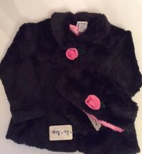 Beautiful Black Faux Fur Dressy Jacket And Hat LE TOP Size 4T NWT
