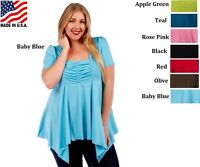 Plus Size Asymmentric Ruched Top Blouse Assorted Colors 1X 2X 3X 4X 5X