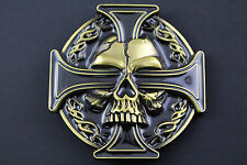 GOTHIC NORSE CROSS SKULL EYE GOLD METAL BELT BUCKLE
