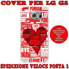 CUSTODIA COVER GOMMA MORBIDA IN TPU SILICONE PER LG G5 FANT LOVE CON CUORE ROSSO
