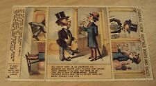 """1880's Comic ADVERTISING 'Trade Card' """"STANDARD SCREW FASTENED"""" Boots/Shoes~"""