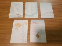 Vintage Set Of 5 Japanese Wood-cut watercolor print Postcards