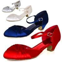 Ladies Women Bridal Prom Bridesmaid Shoes Stiletto Low Kitten Mid Satin Heel