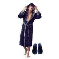 LOTUS LINEN Mens Plush Robe - Hooded Soft Bathrobe for Men - Plush Slippers Set