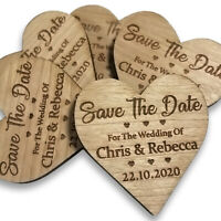 Save The Date Magnets Personalised Wedding Invites Cards Wooden Heart L1482
