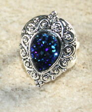 SILVER Vintage Style Royal Blue Titanium Druzy Teardrop 10x14mm Ring Size 8