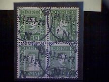 Stamps, used, Denmark, Scott 167a, block of four, Kings Christian Iv and X, 10o