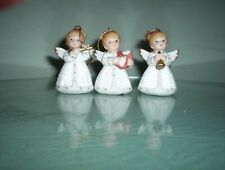 Homco #5414- Set of Three Ornaments- Angels with Musical Instruments