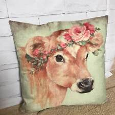 """Rosie Cow"" Cushion Cover Printed Watercolour Farm Animal Sofa Pillow 18"" Gift"