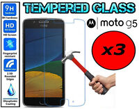 3x Genuine 100% TEMPERED GLASS HD Screen Protector Cover For Motorola Moto G5