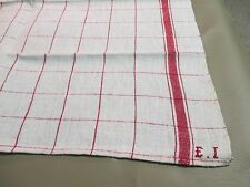 Vintage French LINEN Towel Torchon -Red Stripes, Red Monogram EI-Metis Kitchen