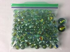 96 Small + 2 Large Cat's Eye Marbles Green Blue Yellow Vintage