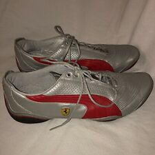 Authentic Puma Ferrari Racing Shoes Silver With Red Size US 12 UK 10