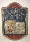 """Vintage Beer Sign """"Beer on Draught"""" 5 Cents Tavern Chalkware Stein Advertisement"""