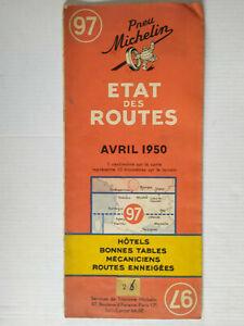 Vintage Michelin Road Map Number 97 Etat des Routes Avril 1950