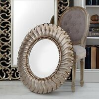 X Large Champagne Gold Leaf Sunburst Round Hall Wall Glass Mirror French Style