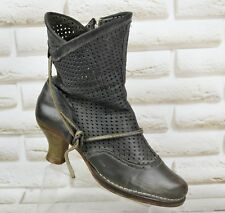 NEOSENS Womens Black Leather Victorian Ankle Boots Heels Made Size 3 UK 36 EU