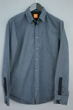 Hombre Hugo Boss Orange Label Camisa Algodón Azul Informal TALLA S MAA877