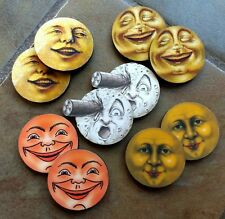 10 miniature Vintage Moon Face Laser Cut Images for art jewelry crafts