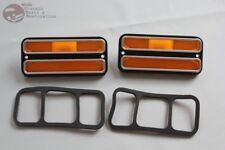 Chevy GMC Pickup Truck Van Amber Side Marker Lamps Lens Chrome Trim Blazer Jimmy