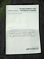 New listing Instructions / Owner'S Manual Only For Cd-6300 Compact Disc Automatic Changer