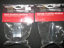 New 2-Guide Series~1 Flat & 1 Round Clear Plastic Nozzle for Jerky Shooter