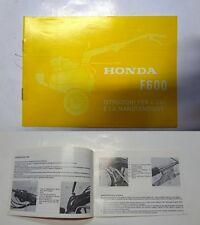 Manuale manual libretto uso manutenzione motozappa tiller HONDA F 600 - 1981