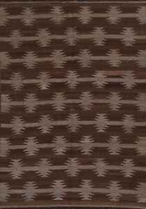 Reversible Geometric Natural Dye Kilim Afghan Oriental Area Rug Hand-Woven 5x7