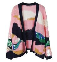 desinger women Sequin knitted pink softly wool short sweater jumper Cardigan
