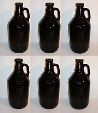 BEER GROWLERS 6 NEW HALF GALLON AMBER GLASS JUGS w/CAPS BREWING BOTTLES 1/2 GAL