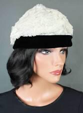 Vintage Designer Hat Sz S Mr John Black Velvet Off White Tiered Lace Toque