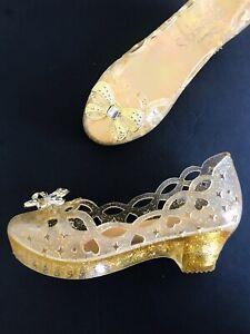Disney Princess sz US 1 Y Youth Gold Dress up Costume Light Up Heel NEW