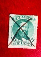 1866 BRAZIL 100R  POSTAGE STAMP USED HAND CANCEL