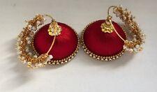 Ethnic Handmade Silk Threaded Earrings Bollywood style Jhumka HOOP RED Earrings