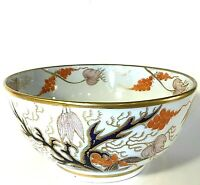 ASIAN BOWL COBALT BLUE & GOLD ACCENTS HAND DECORATED DESIGNS GOLD TRIM VINTAGE