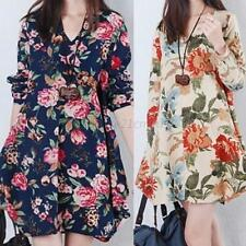 Hot Fashion Womens Floral Linen Maternity Loose Dress Pregnant Long Sleeve Dress