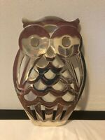 Owl Trivet Made in Italy FB Rogers Hot Plate Pad EP Zinc FBR Silver Tone