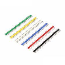 6pcs 254mm 40 Pin Male Single Row Pin Header Strip Yellow Blue Green Black Red