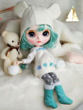Blythe Nude Doll from Factory Mint Green Hair With Make-up Eyebrow Sleeping Eyes