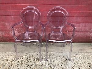 A pair of Modern Perspex Ghost Broxster Chairs