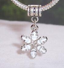 White Christmas Snowflake Holiday Dangle Bead for Silver European Charm Bracelet